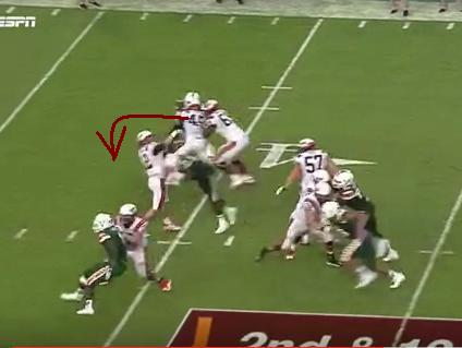 See: how MB12 tries to over rotate his right shoulder forward to take the hit?